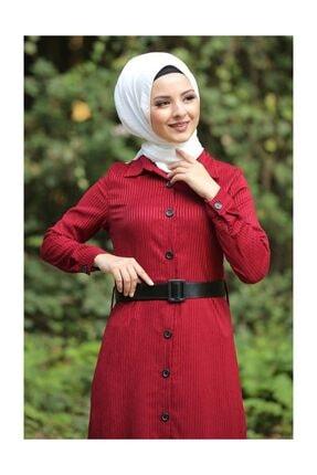 Tesettür Dünyası Volanlı Kadife Elbise Tsd1847 Kırmızı 4