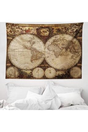 Rengirenk Haritalar Mikrofiber Geniş Duvar Halısı Antik Dünya Haritası 0