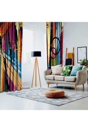 Henge Home Yağlı Boya Etkili Renkli Sürralist Desenli Fon Perde 1