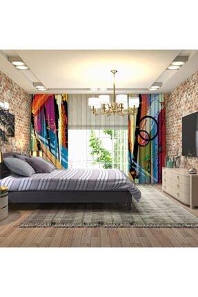 Henge Home Yağlı Boya Etkili Renkli Sürralist Desenli Fon Perde 2
