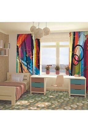 Henge Home Yağlı Boya Etkili Renkli Sürralist Desenli Fon Perde 3