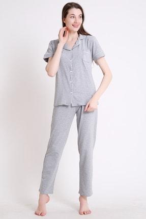 BESİMMA Kadın Açık Gri Kısa Kollu Penye Pijama Takımı 1