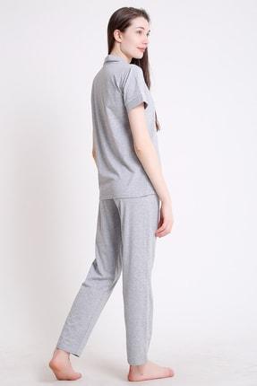 BESİMMA Kadın Açık Gri Kısa Kollu Penye Pijama Takımı 2