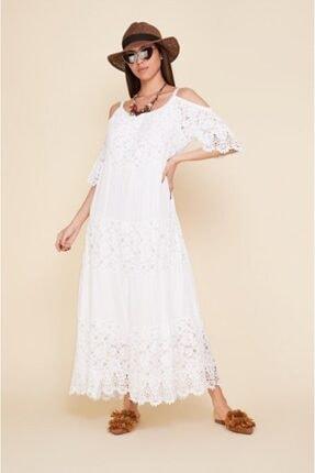 EŞSİZ Butik Kadın Beyaz Güpür Detayli Otantik Elbise 0