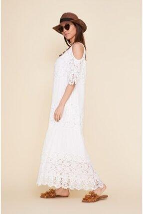 EŞSİZ Butik Kadın Beyaz Güpür Detayli Otantik Elbise 1