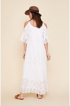 EŞSİZ Butik Kadın Beyaz Güpür Detayli Otantik Elbise 2