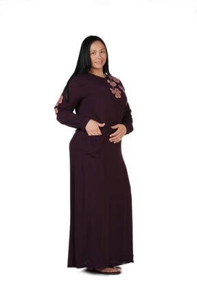 New Color Kadın Mürdüm Nakış Detaylı Uzun Krinkıl Elbise 2