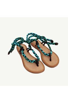 Yargıcı Kadın Çok Renkli Kumaş Bağlamalı Deri Sandalet 9YKAY4029X 3