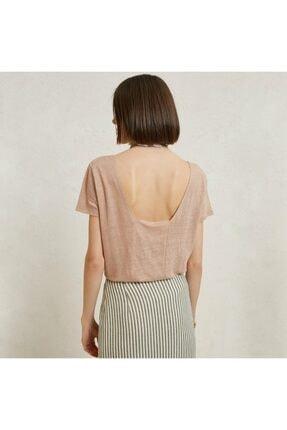Yargıcı Kadın Sütlü Kahve Kare Yaka Panelli T-Shirt 9YKTS9021X 1