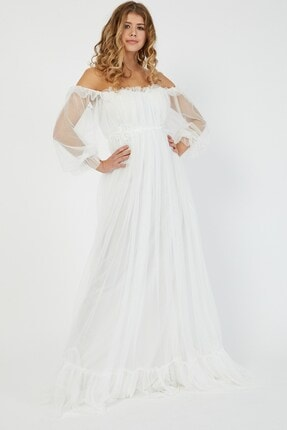 Shine İstanbul Hayal Tül Beyaz Elbise 0