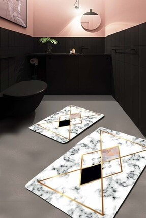 EVİMOD Pembeli Beyaz Mermer Modern Yıkanabilir 2li Banyo Halısı Paspas 39900x 0