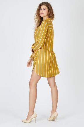 Pera Çizgili Hardal Tunik Elbise 4
