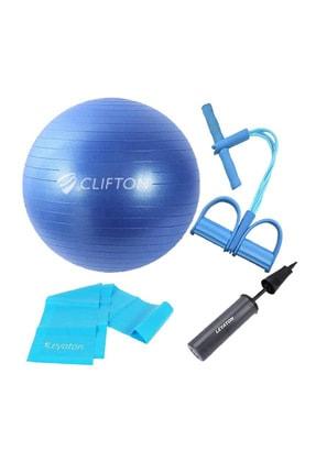 Clifton 65 cm Mavi Dura-Strong Deluxe Pilates Topu+Body Trimmer +Pilates Bandı + Pompa Set 1