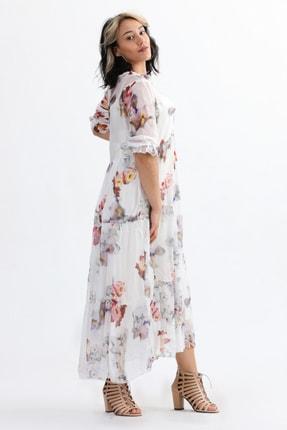 Camena Kadın Beyaz Çiçek Baskılı Ipek Elbise 2019070500086 1