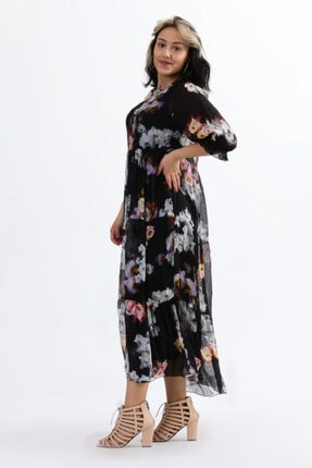 Camena Kadın Siyah Bisiklet Yaka Çiçek Baskılı İpek Elbise 2019070500087 1