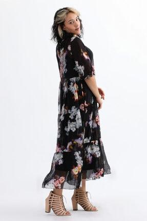 Camena Kadın Siyah Bisiklet Yaka Çiçek Baskılı İpek Elbise 2019070500087 2