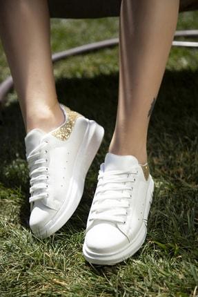 Ayakkabı Modası Beyaz-altın Kadın Sneaker 5007-20-110001 2