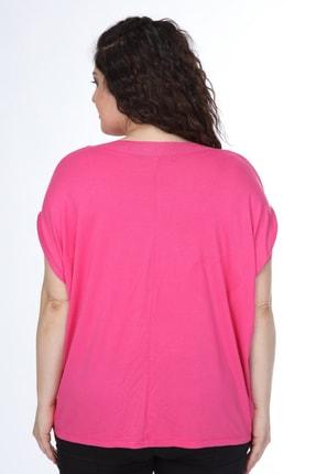 Mihra Stil Kadın Pembe Büyük Beden Yarasa Kol Pembe Bluz 3