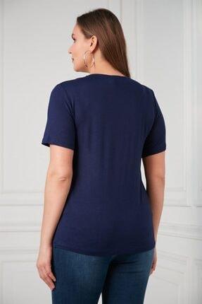 Rmg Yaka Kuşak Detaylı Büyük Beden Lacivert Bluz 4