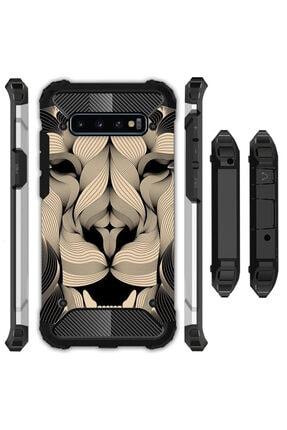 cupcase Samsung Galaxy S10 Plus Kılıf Desenli Sert Korumalı Zırh Tank Kapak - Altın Aslan Mandala 0