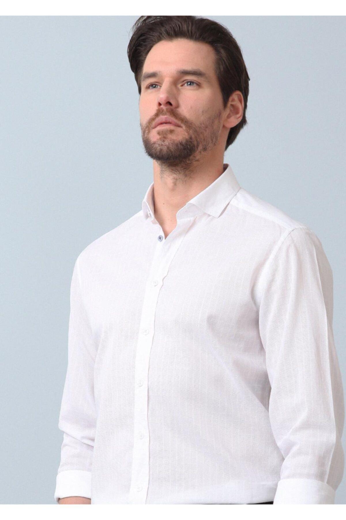 Ramsey Erkek Beyaz Kareli Dokuma Uzun Kollu Gömlek RP10121345