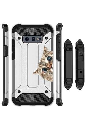 cupcase Samsung Galaxy S10 Kılıf Desenli Sert Korumalı Zırh Tank Kapak - Cat Look 0