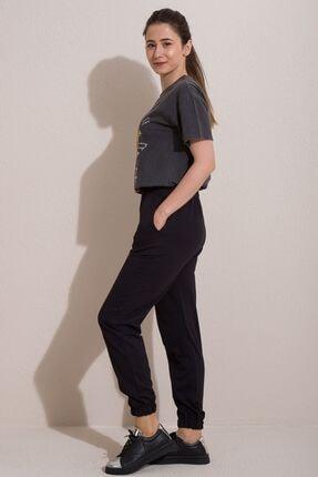 Kadın Modası Kadın Siyah Lastikli Cepli Çimalı Alt Eşofman 2