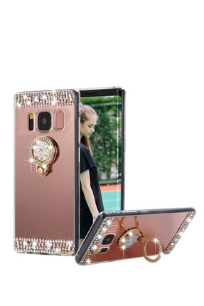 Omelo Xiaomi Redmi 7a Kılıf Aynalı Taşlı Yüzüklü Standlı Arka Koruma Bakır Hediyeli 1