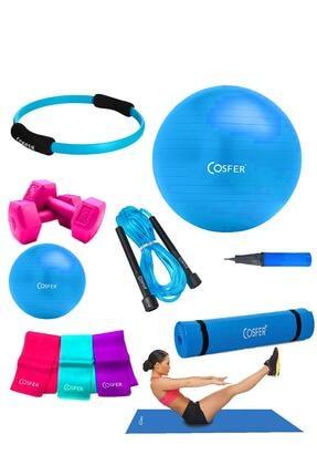 Cosfer CSF-TR08 8 Li Pilates Seti ve Pilates Minderi 0