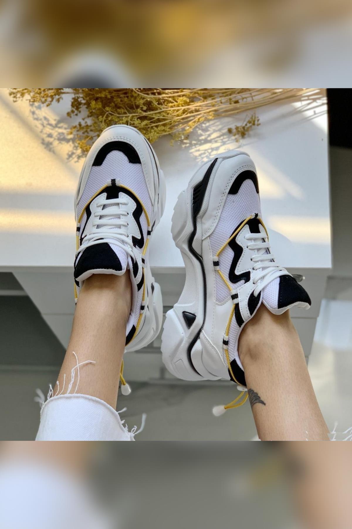 Limoya Cassandra Beyaz Fileli Siyah Süet Yüksek Tabanlı Sneakers