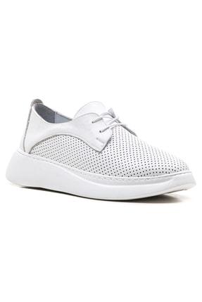 GRADA Beyaz Yüksek Tabanlı Hakiki Deri Kadın Sneaker Ayakkabı 0