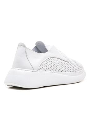 GRADA Beyaz Yüksek Tabanlı Hakiki Deri Kadın Sneaker Ayakkabı 3