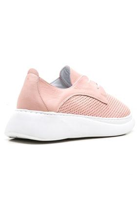 GRADA Pudra Hakiki Deri Yüksek Tabanlı Kadın Sneaker Ayakkabı 3