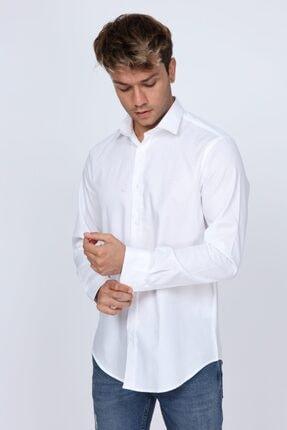 Abbate Mikro Kumaş Detaylı Beyaz Slim Fit Erkek Gömlek 4