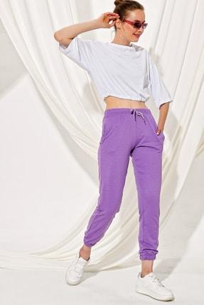 Trend Alaçatı Stili Kadın Lila Paçası Lastikli İki İplik Eşofman Altı ALC-Y2933 1