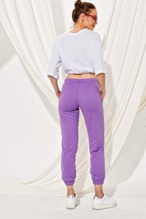 Trend Alaçatı Stili Kadın Lila Paçası Lastikli İki İplik Eşofman Altı ALC-Y2933 2