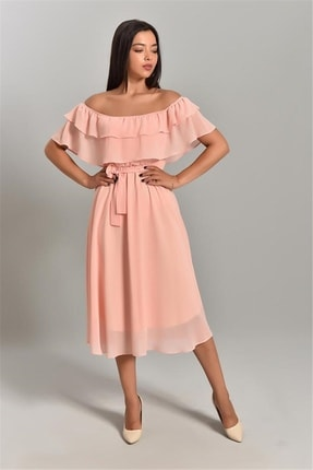 MACFLY Kadın Pembe Carmen Yaka Şifon Elbise 1