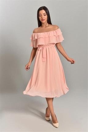 MACFLY Kadın Pembe Carmen Yaka Şifon Elbise 2
