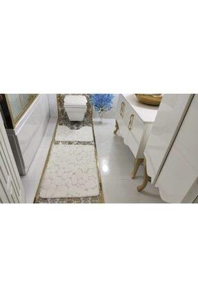 BotigaHome Stone Beyaz Banyo Halısı Klozet Takımı 3'lü Set 0