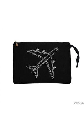 Zepplin Giyim Airbus A380 Top Siyah Clutch Astarlı Cüzdan / El Çantası 0
