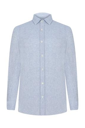 Mudo Erkek Açık Mavi Regular Kesim Keten Gömlek 368435 0