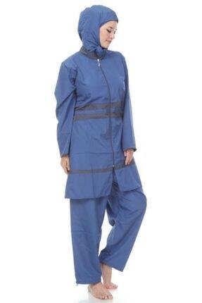 Modamihram Kadın Mavi Biye Detaylı Büyük Beden Haşema 2