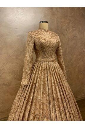 Womentic Bridal Gold Işlemeli Tesettür Abiye 2