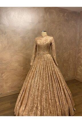 Womentic Bridal Gold Işlemeli Tesettür Abiye 3