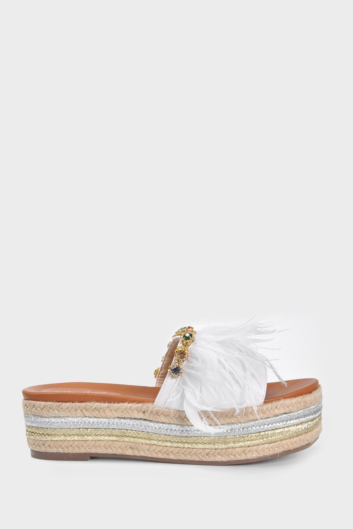 Vizon Ayakkabı Kadın Beyaz Terlik Vzn20-150y