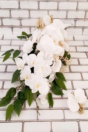 Yapay Çiçek Deposu Beyaz Orkide Şöleni 2li Set 0