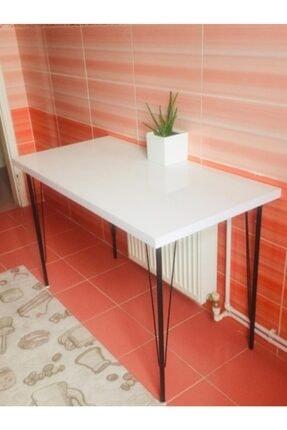 Yirmi15 Metal Ayaklı High Gloss Parlak Beyaz Dekoratif Mutfak Masası 60x120 cm 2