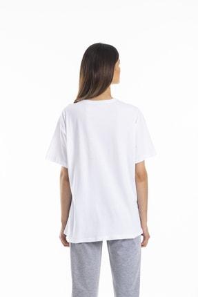 bunubanayolla Zebra Ve Leopar Parça Baskılı Salaş Beyaz Tshirt 3