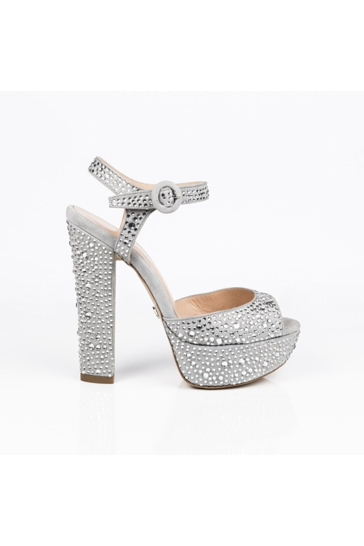 Jabotter Kadın Beyaz Nifty Gri Süet Taşlı Platform Topuklu Ayakkabı