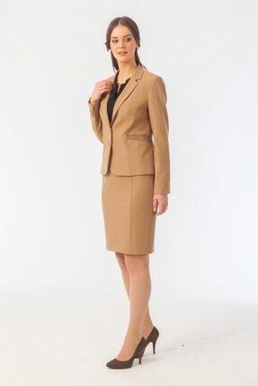Naramaxx Kadın Kahverengi Tek Düğmeli Blazer Ceket 1